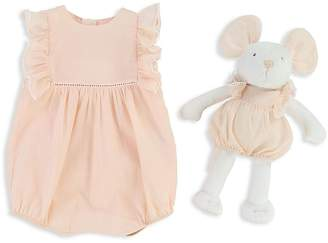 Chloé Girls' Ruffled Coverall & Mouse Set - Baby