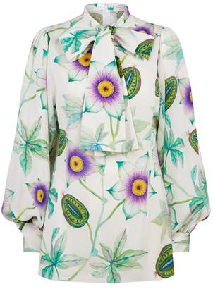 Andrew Gn Floral Fruit Pussybow Blouse