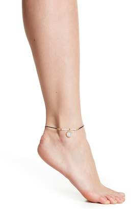Mistraya Jewelry Beaded Austrian Crystal & Moonstone Charm Anklet
