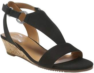 ac8ee8f51746 at QVC · Aerosoles Heel Rest T-Strap Wedge Sandals -Creme Brulee