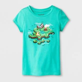 Cat & Jack Toddler Girls' Dino Island Cap Sleeve T-Shirt Mint Green
