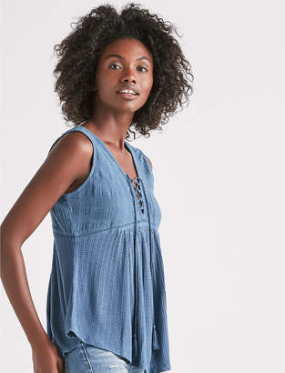 Lucky Brand DROP NEEDLE LACE UP TANK