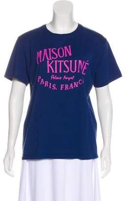 MAISON KITSUNÉ Scoop Neck Text T-shirt