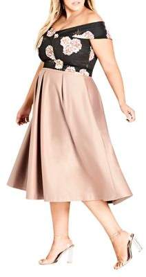 City Chic Plus Pucker Up Pleated Skirt