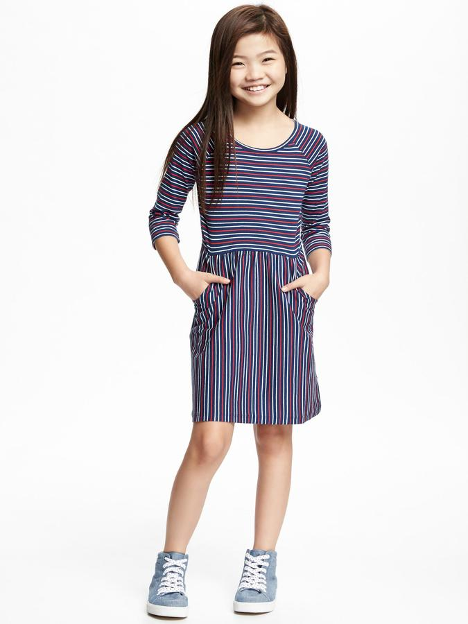 Striped Jersey Fit & Flare Dress for Girls 3