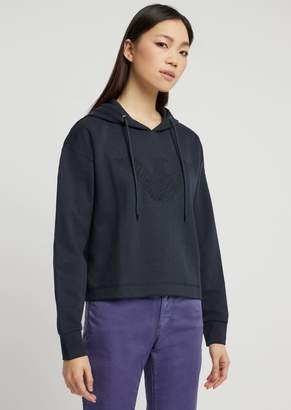 Emporio Armani Cropped Sweatshirt With Hood And Embroidered Eagle