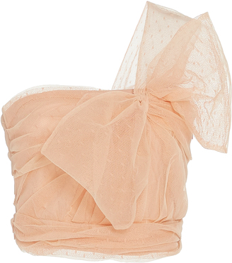 Red Valentino One Shoulder Point D'Esprit And Tulle Top $495 thestylecure.com