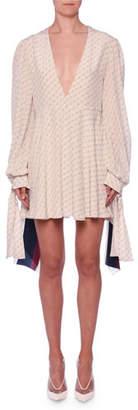 Stella McCartney V-Neck Long-Sleeve Monogram-Print Silk Dress w/ Tieback