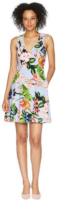 Vince Camuto Printed Scuba Crepe Fit and Flare Dress Women's Dress
