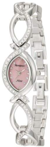 Swarovski Armitron Women's 75/3477PMSV Crystal Accented Silver-Tone Pink Dial Watch