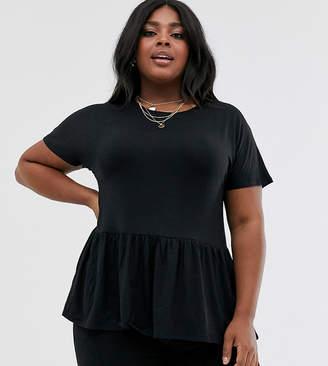 New Look Plus Curve peplum hem tee in black