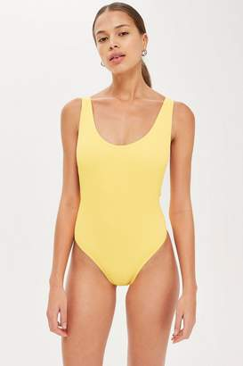 Topshop Ribbed Scoop Neck Swimsuit