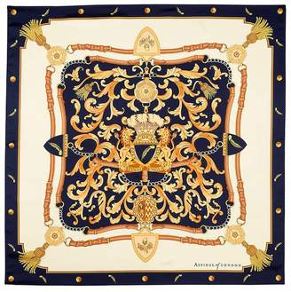 Aspinal of London Signature Shield Silk Scarf In Burgundy