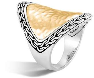 John Hardy 18K Yellow Gold and Sterling Silver Classic Chain Saddle Ring