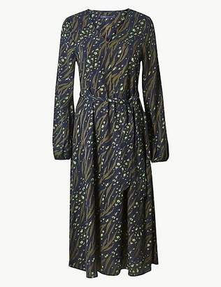 M&S Collection Printed Long Sleeve Waisted Midi Dress