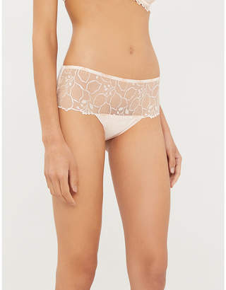 Simone Perele Lumineuse high-rise floral-embroidered mesh and stretch-jersey briefs