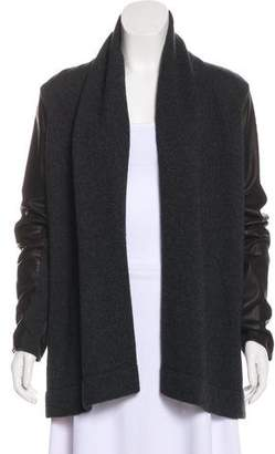 Vince Leather-Paneled Knit Cardigan