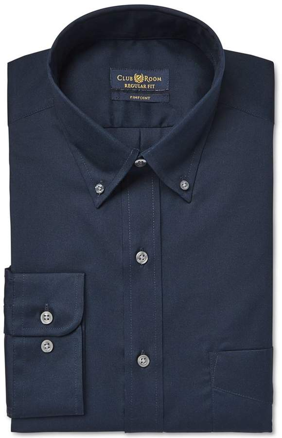 Club Room Estate Wrinkle Resistant Deep Ocean Solid Dress Shirt