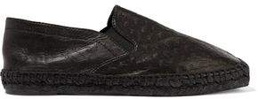 Tomas Maier Paneled Embossed Leather Espadrilles