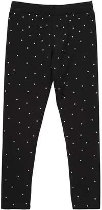 Philipp Plein Junior Embellished Cotton Interlock Leggings