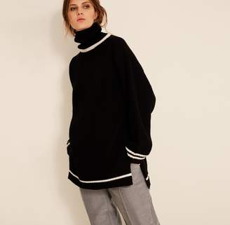 Amanda Wakeley Black High Neck Oversized Knit