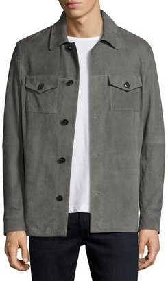 Michael Kors Suede Shirt Jacket, Gray $898 thestylecure.com