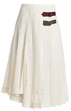 Victoria Beckham Women's Pleated Open Weave Skirt
