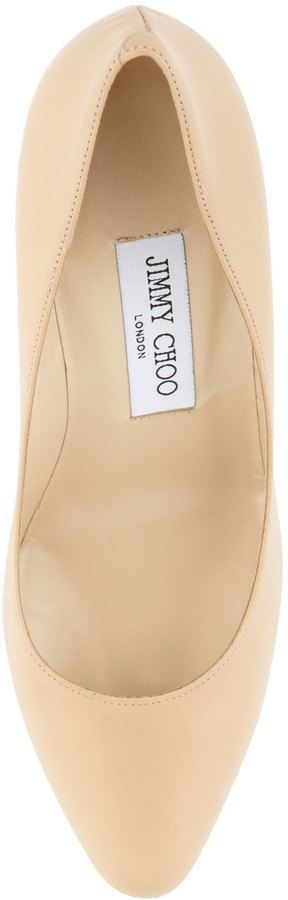 Jimmy Choo Gilbert Leather Almond-Toe Pump, Nude