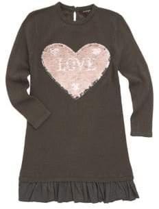 Imoga Little Girl's& Girl's Sequin Patch Sweater Dress