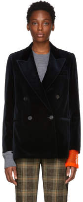 Acne Studios Navy Velvet Double-Breasted Blazer