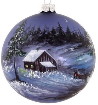 "Hand Painted Snowy Cabin on Mouth Blown & Hand Decorated European 4"" Round Holiday Ornament"