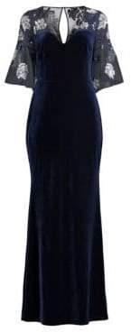 Aidan Mattox Velvet Floral Embellished Dress