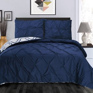 Superior Valencia Premium Cotton Reversible Pinch-Pleated Duvet Cover Set