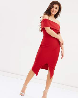 Lumier Alvina Off Shoulder Split Midi Dress