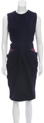 Vionnet Draped Sleeveless Dress Navy Draped Sleeveless Dress