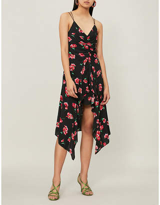 Mo&Co. Floral-print spaghetti-strap woven dress