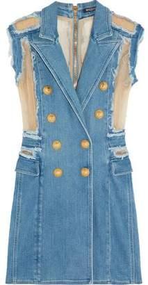Balmain Georgette-Paneled Frayed Denim Mini Dress