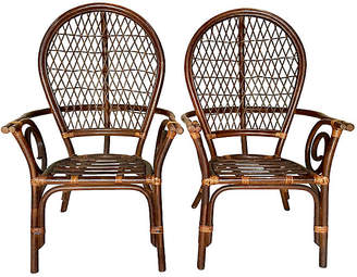 One Kings Lane Vintage Rattan High-Back Chairs - Set of 2 - Jacki Mallick Designs
