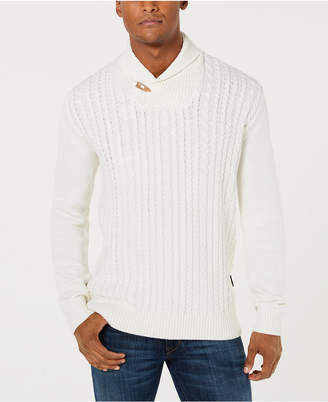 Sean John Men Cable Knit Shawl Collar Sweater