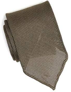 Drakes Drake's Solid Gaberdine Tie in Olive