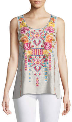 Johnny Was Vella Embroidered Linen Tank