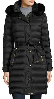 Burberry Fox-Trim Long Puffer Coat, Black $1,795 thestylecure.com
