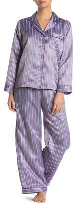 Jonquil In Bloom by Striped Satin Long Sleeve Shirt & Pants Pajama 2-Piece Set