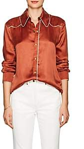 Land of Distraction Women's Sonja Washed Satin Western Blouse - Rust