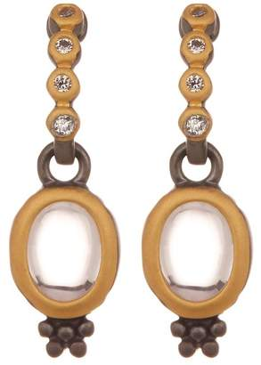Freida Rothman Contemporary Deco Two-Tone CZ Accent Drop Earrings