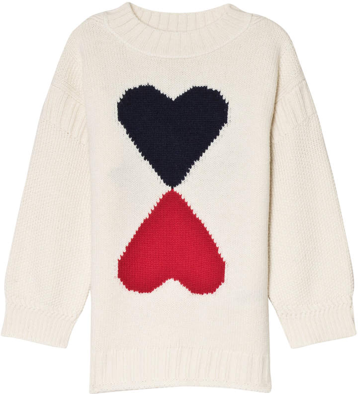 Burberry Cream Double Heart Intarsia Jumper with Branded Back