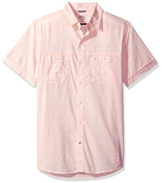 Izod Men's Slim Fit Saltwater Dockside Chambray Short Sleeve Button Down Solid Shirt