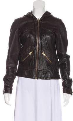 Mike & Chris Hooded Leather Jacket