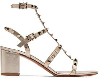Valentino Rockstud Metallic Leather Sandals - Womens - Gold
