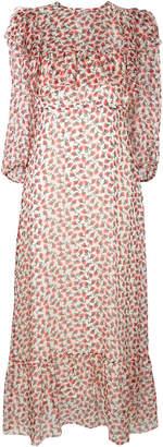 Rochas floral ruffle trim dress